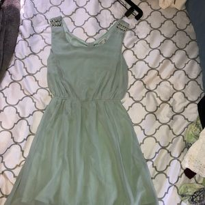 Mint green dress with open back